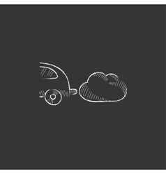 Car spewing polluting exhaust drawn in chalk icon vector