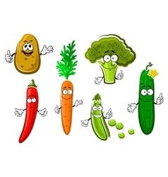Cartoon fresh organic vegetable characters vector