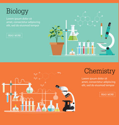 chemistry and biology laboratory science with vector image vector image