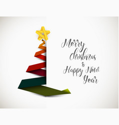 christmas tree made from colorful paper stripe vector image