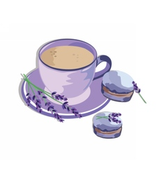 Coffee or tea cup with lavender macaroons vector