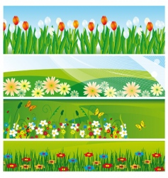 collection of banners with flowers vector image