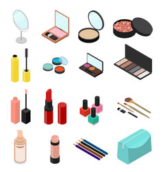 cosmetic products set isometric view vector image vector image