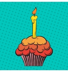 Cupcake pop art vector