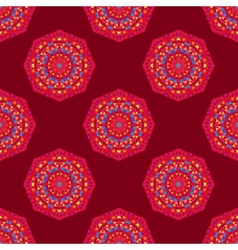 Ethnic seamless round pattern with triangles vector image