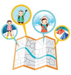 Girl with activities in winter and map vector