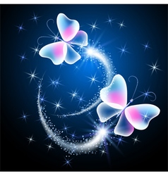 Glowing butterflies vector image