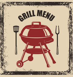 grill menu grill fork and kitchen spatula on vector image
