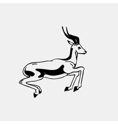 Hand-drawn pencil graphics antelope roe Engraving vector image