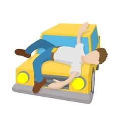 Man hit by a car icon cartoon style vector