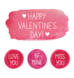 Pink valentines day watercolor elements vector