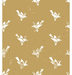 Seamless patternlinocut style with white birds vector