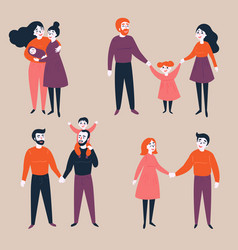 Set of gay lgbt and traditional couples with child vector
