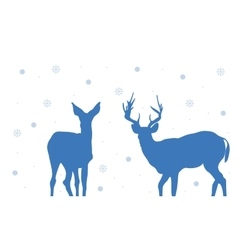 Silhouette of two deer christmas vector