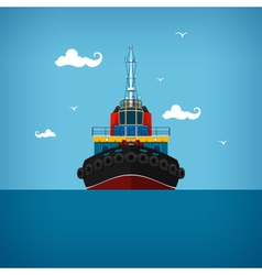 Tugboat for towage and mooring of other courts vector