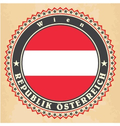 Vintage label cards of austria flag vector
