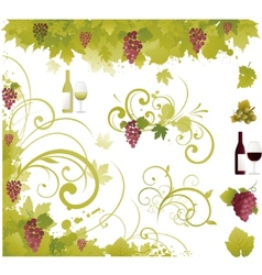 wine decorative elements vector image