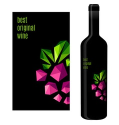 Wine label with bunch of grapes vector