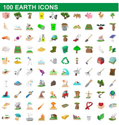 100 earth icons set cartoon style vector