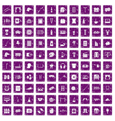 100 leisure icons set grunge purple vector image vector image