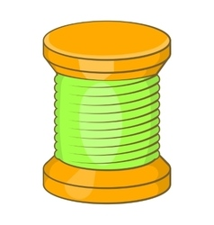 Wooden coil icon cartoon style vector