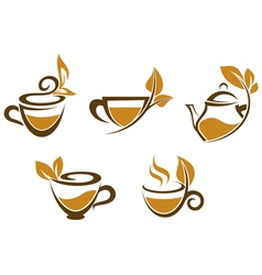 Cups of tea with brown leaves vector image