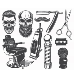 Set of vintage monochrome barber tools and vector image
