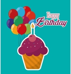 Happy birthday cupcake candle ed balloons vector