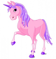 Pink unicorn vector