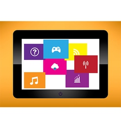 Black tablet pc on white background Ipade vector image