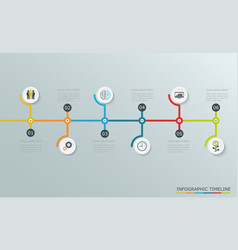 timeline graph with business icons vector image