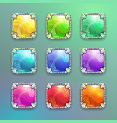 Beautiful colorful cartoon crystal square buttons vector