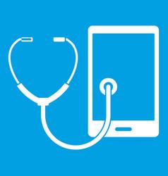 Phone diagnosis icon white vector