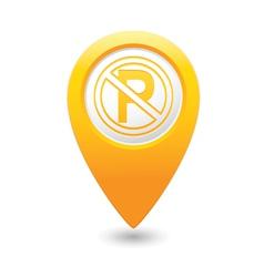 No parking symbol map pointer yellow vector