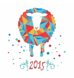 Card with sheep and 2015 vector