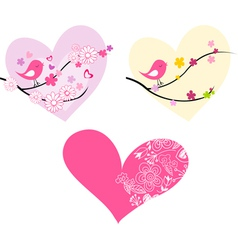 Cute birds hearts and flowers vector