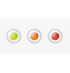Light buttons with green orange and red color vector