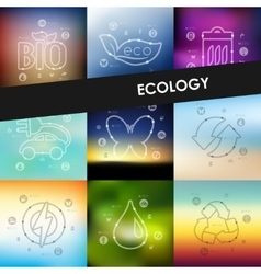 Ecology timeline infographics with blurred vector