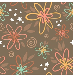 Floral seamless pattern on brown background vector