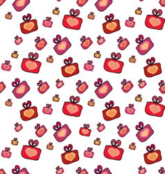 Seamless pattern with gifts hearts vector