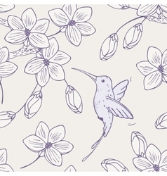 Hand drawn seamless pattern with humming bird and vector