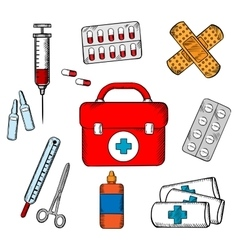 Ambulance and medical objects icons vector