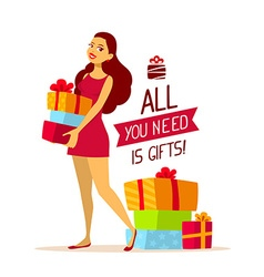 Young girl with pile of gift boxes and te vector