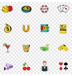 Gambling set icons vector