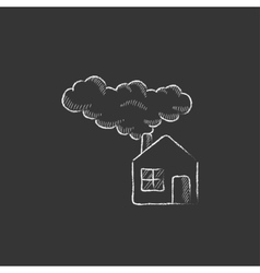 Save energy house drawn in chalk icon vector