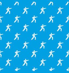 Aikido fighter pattern seamless blue vector