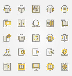 audiobook colorful icons set vector image vector image