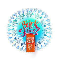 Back to school sale on blue splash vector