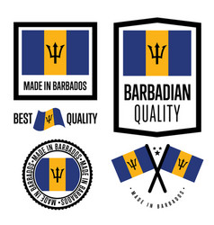 Barbados quality label set for goods vector