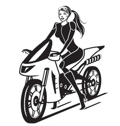 Beautiful girl with a motorcycle vector image vector image